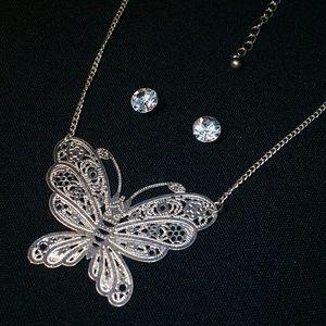 Jewelry - Silvertone Butterfly Necklace & Cute Stud Earrings